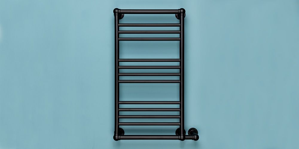 Rutland Radiators Milner heated towel rail Manufactured from 32mm DZR brass tube with cropped joints and powder coated in Black