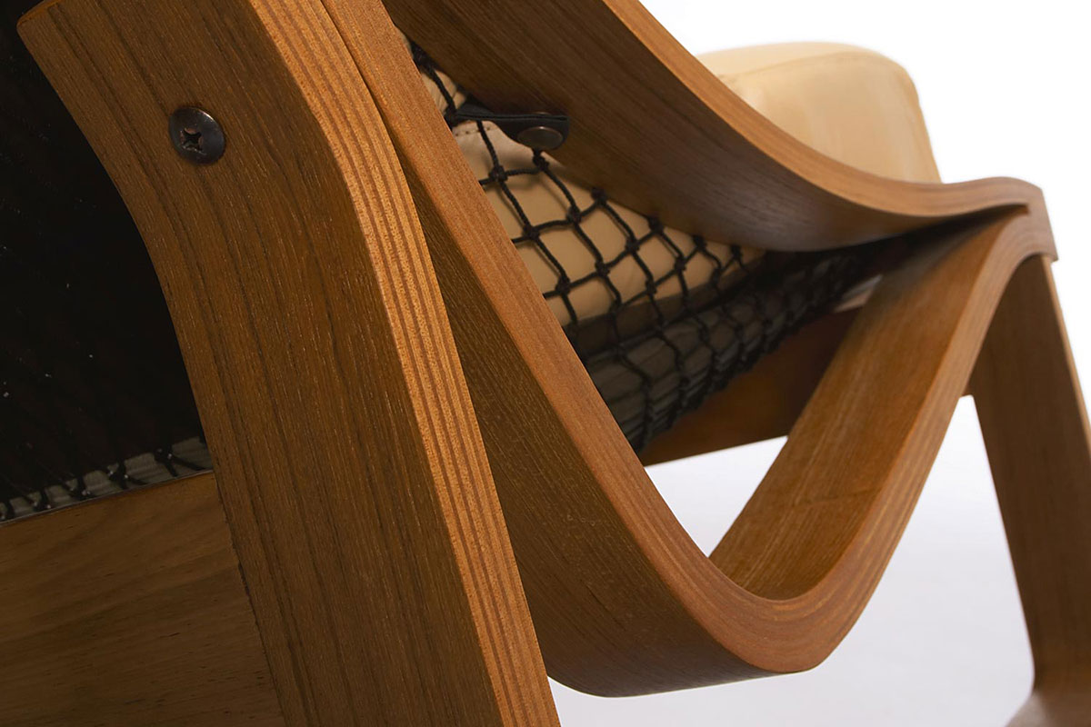 Close-up showing detail of the arm and design of the Tessa T4 Hammock chair by Fred Lowen