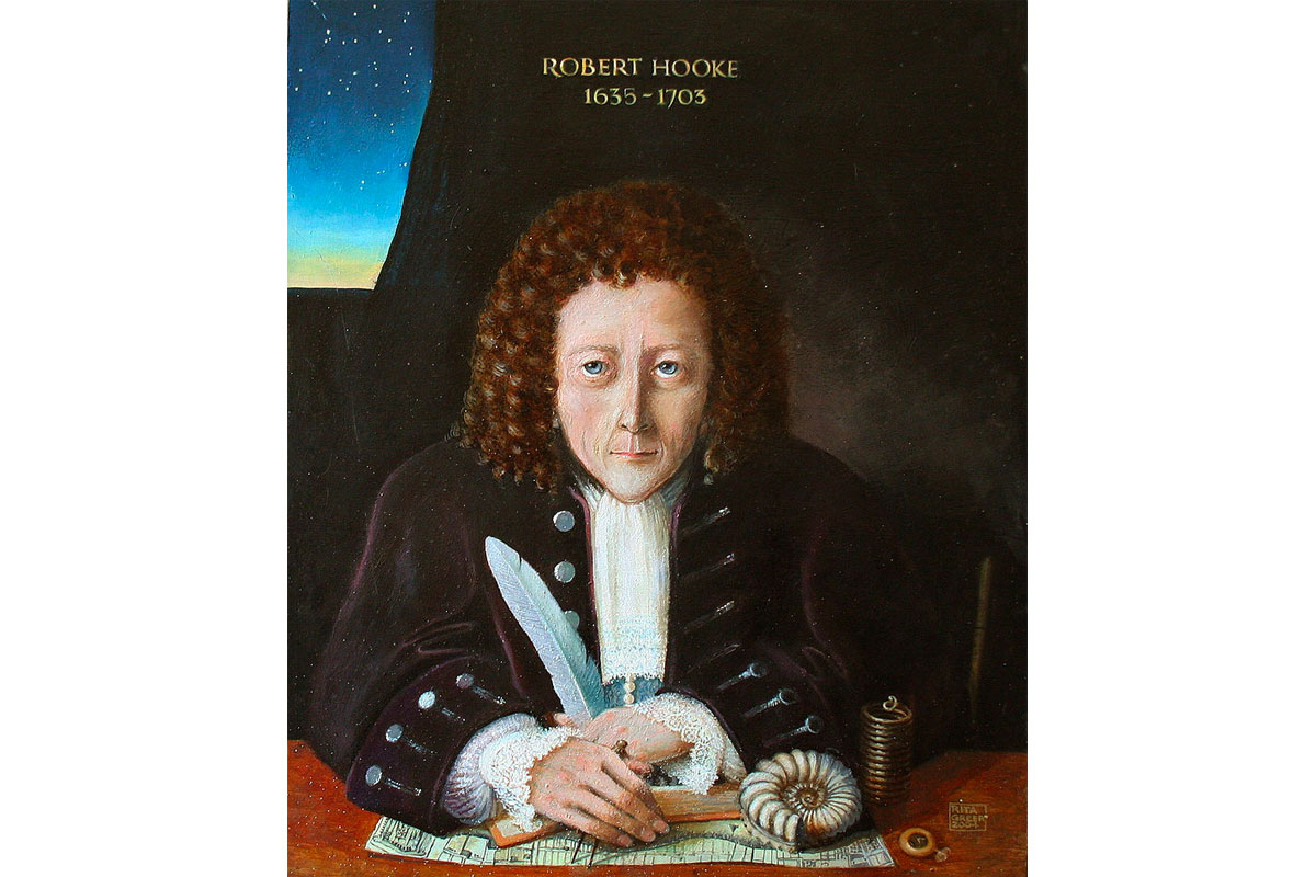 Posthumous portrait of Robert Hooke by Rita Greer (2004) depicted with a spring, pocket watch and map of London which he helped to rebuild after the Great Fire in 1666.
